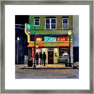 Framed Print featuring the painting Syd's Bar by John Reynolds