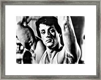 Sylvester Stallone Portrait Framed Print