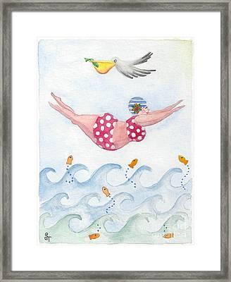 Sylvia Diving Framed Print