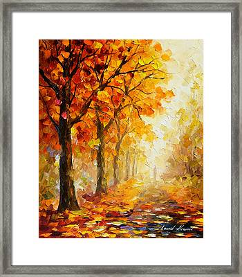 Symbols Of Autumn - Palette Knife Oil Painting On Canvas By Leonid Afremov Framed Print by Leonid Afremov