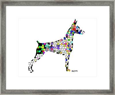 Symetry In Doberman Framed Print by Maria C Martinez