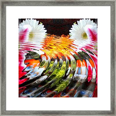 Symmetric Still Life. Flowers In The Water. 2013 80/80 Cm.  Framed Print by Tautvydas Davainis