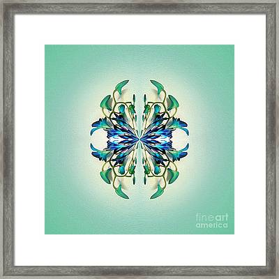 Symmetrical Orchid Art - Blues And Greens Framed Print by Kaye Menner