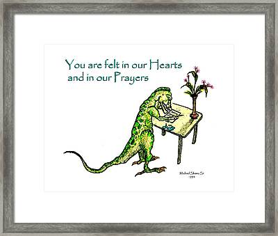 Sympathy Dinosaur Heart Felt Framed Print