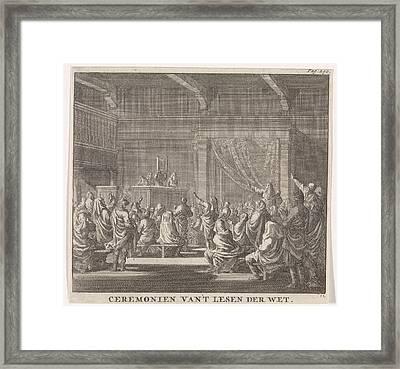 Synagogue Where A Rabbi Reads, Print Maker Jan Luyken Framed Print