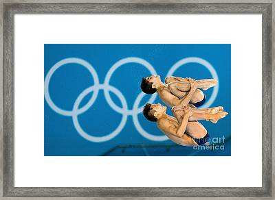 Synchronised Diving At London Olympics Framed Print by Ria Novosti