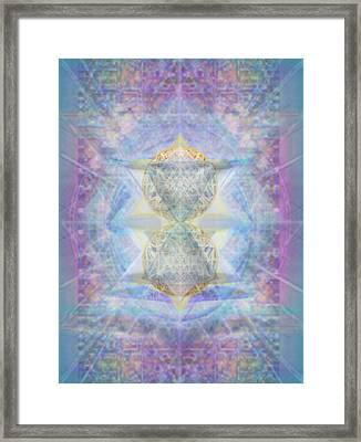 Synthecentered Doublestar Chalice In Blueaurayed Multivortexes On Tapestry Lg Framed Print
