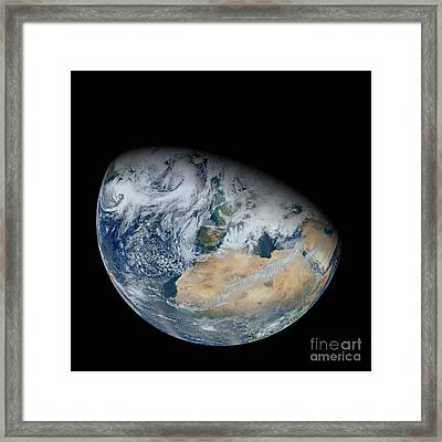 Synthesized View Of Earth Showing North Framed Print by Stocktrek Images