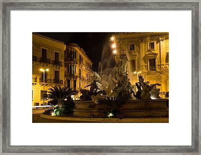 Framed Print featuring the photograph Syracuse - Diana Fountain  by Georgia Mizuleva
