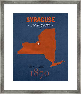 Syracuse University New York Orange College Town State Map Poster Series No 102 Framed Print by Design Turnpike