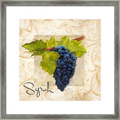 Syrah Framed Print by Lourry Legarde