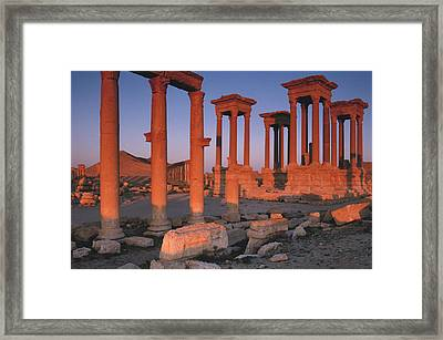 Syria, The Great Tetra Pylon At Palmyra Framed Print by Steve Roxbury