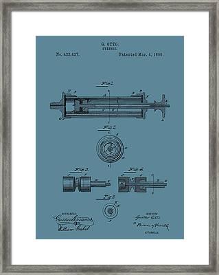 Syringe Patent Drawing Blue Framed Print