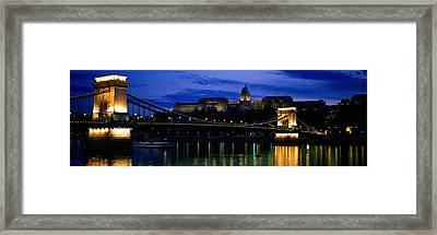 Szechenyi Bridge Royal Palace Budapest Framed Print by Panoramic Images