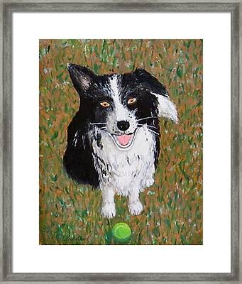 T And Her Tennis Ball Framed Print