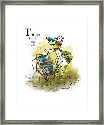 T Is For Turtle Framed Print
