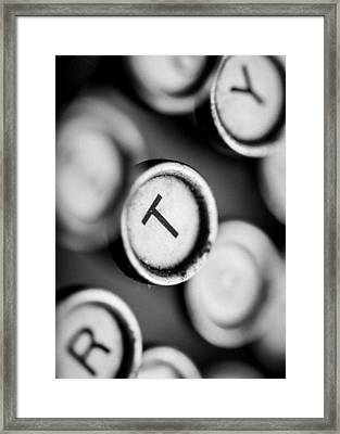 T Is For Typewriter Framed Print by Jon Woodhams