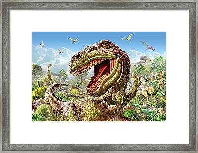 T-rex And Dinosaurs Framed Print by Adrian Chesterman