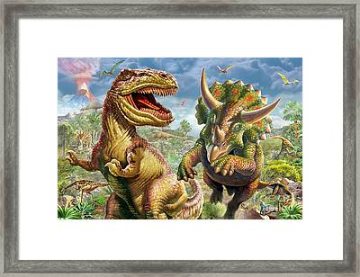 T-rex And Triceratops Framed Print by Adrian Chesterman