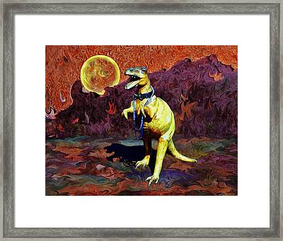 T-rex Escapes Framed Print by Sandra Selle Rodriguez