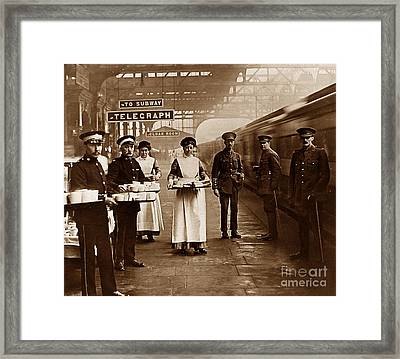 The Red Cross And St. John's Ambulance Brigade During Ww1 England Framed Print by The Keasbury-Gordon Photograph Archive