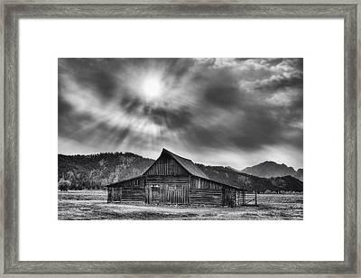 T.a. Moulton Barn - Black And White Framed Print by Mark Kiver