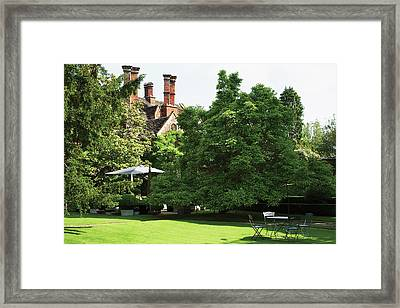 Table And Chairs In Lawn Framed Print