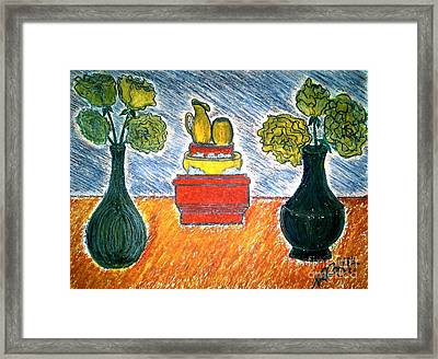 Table And Vases Framed Print by Neil Stuart Coffey