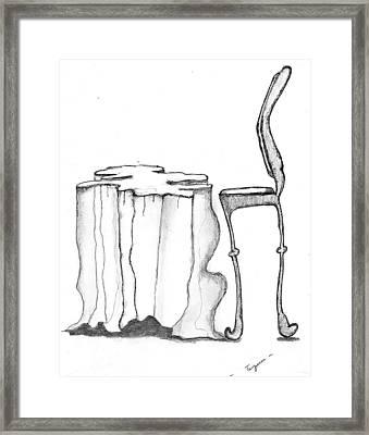 Table Chair Surrealiste Framed Print by Dan Twyman