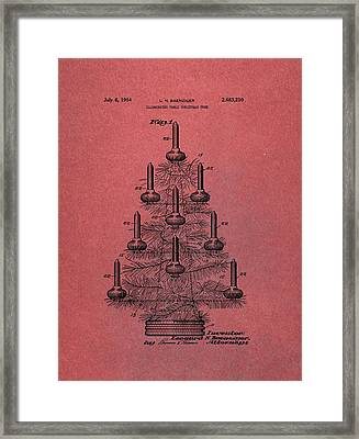 Table Christmas Tree Patent Red Framed Print