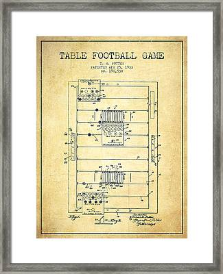 Table Football Game Patent From 1933 - Vintage Framed Print by Aged Pixel