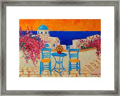 Table For Two In Santorini Greece Framed Print