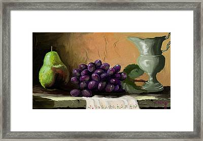 Table Grapes Framed Print by Sandra Aguirre