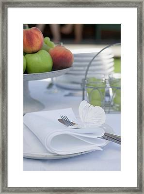 Table Laid Out Of Doors For A Summer Party Framed Print