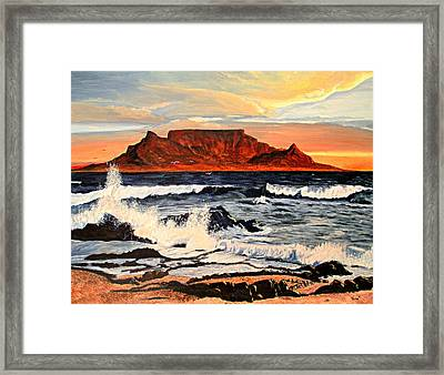 Framed Print featuring the painting Table Mountain At Sunset by Hilda and Jose Garrancho