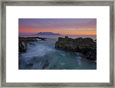 Table Mountain Sunset Framed Print by Aaron Bedell