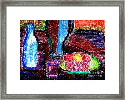 Framed Print featuring the pastel Table On Rue Cadet by Bill OConnor