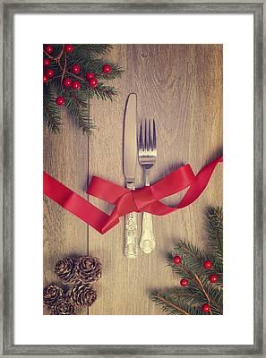 Table Setting Framed Print by Amanda Elwell