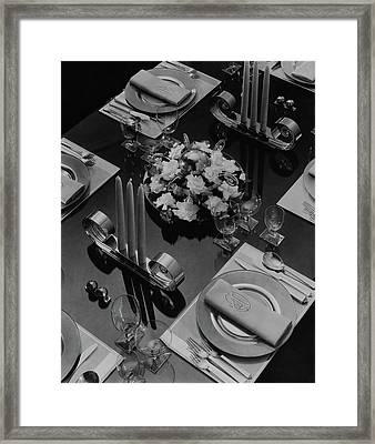 Table Setting Framed Print by Eugene Hutchinson