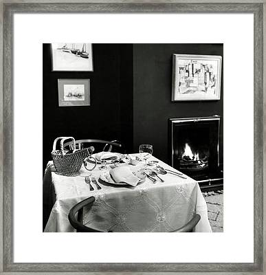 Table Setting In Mr. And Mrs. Lewis Lapham's Home Framed Print