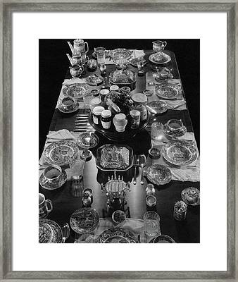 Table Settings On Dining Table Framed Print