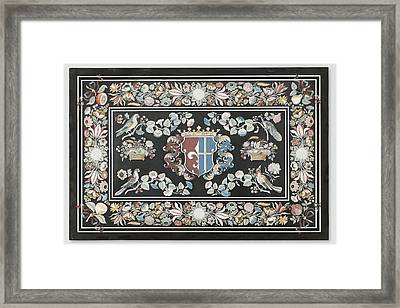Table Top With A Coat Of Arms, Giovanni Leoni Framed Print