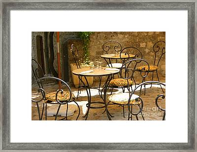 Tables And Chairs Framed Print by Holly C. Freeman