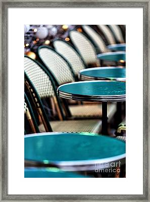 Tables In The Latin Quarter Framed Print by John Rizzuto
