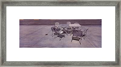 Tables With Chairs On A Street, San Framed Print by Panoramic Images