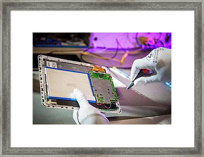 Tablet Computer Repairs Framed Print by Arno Massee