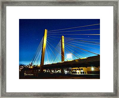 Tacoma W A Cable Stayed Bridge Framed Print by Sadie Reneau