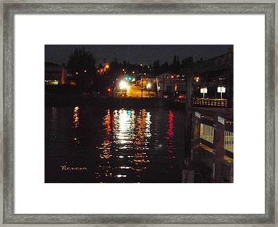 Tacoma Waterfront At Night On Ruston Way Framed Print