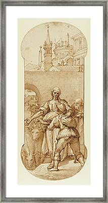 Taddeo At The Entrance To Rome Greeted By Toil, Servitude Framed Print by Litz Collection