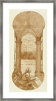 Taddeo Copying Raphaels Frescoes In The Loggia Of The Villa Framed Print by Litz Collection
